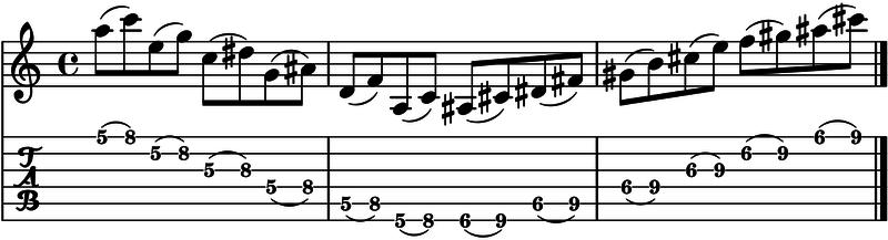 ligados en la guitarra ejecicio