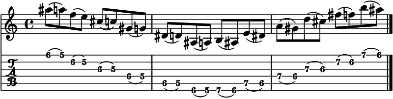 ejercicio ligados en la guitarra
