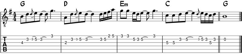 ritmo de la melodia con notas diferentes
